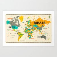 map of the world Art Prints featuring WORLD MAP by Jazzberry Blue