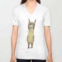 llama V-neck T-shirts featuring Llama by Paola Zakimi