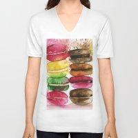 macarons V-neck T-shirts featuring macarons by Olga Gridneva