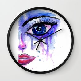 Painted Stylized Face with Blue Eyes Wall Clock