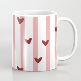 Love concept of hearts on striped background Coffee Mug