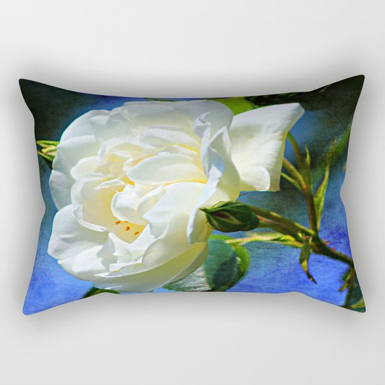 Creamy White Rose and Buds Rectangular Pillow