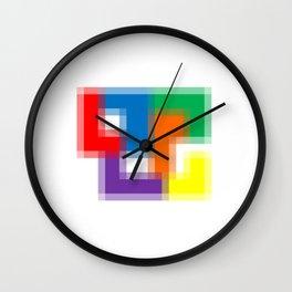Rainbow Pixel Blocks Wall Clock