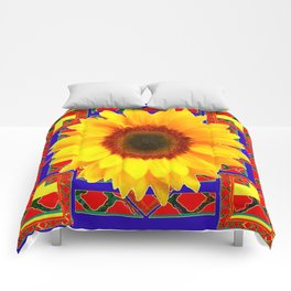 WESTERN BLUE-RED YELLOW SUNFLOWER FLORAL ART Comforters