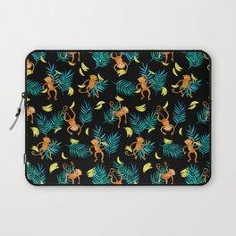 Tropical Monkey Banana Bonanza on Black Laptop Sleeve