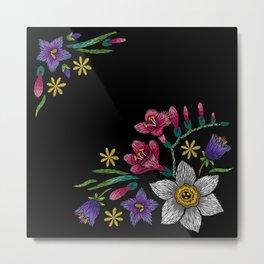 Embroidered Flowers on Black Corner 02 Metal Print