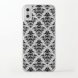 Damask Pattern | Black and White Clear iPhone Case