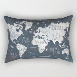 World Map / Rusty Rectangular Pillow