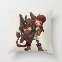 hiccup Throw Pillows featuring Hiccup & Toothless - Childhood  by David Tako