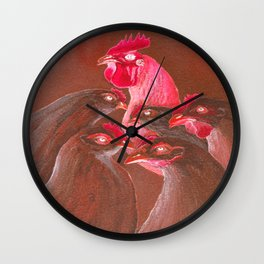 Henpecked In Red Wall Clock