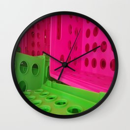 Crates in Pink and Green Wall Clock