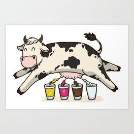 Cow Milkshake Strawberry Chocolate Banana Gift Art Print