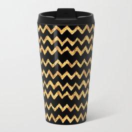 Gold Waves on Black Background Travel Mug