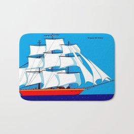 Clipper Ship in Sunny Sky - Happy Birthday on some items Bath Mat
