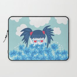 Geek Girl With Heart Shaped Eyes And Blue Flowers Laptop Sleeve