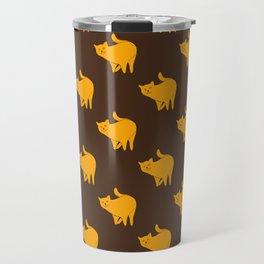 Cute Yellow Cat Pattern | Brown Travel Mug