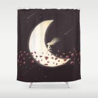 lunar Shower Curtains featuring Lunar Child by Annisa Tiara Utami