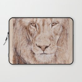 Lion Portrait - Drawing by Burning on Wood - Pyrography Art Laptop Sleeve