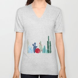 Cactus Garden on light background Unisex V-Neck