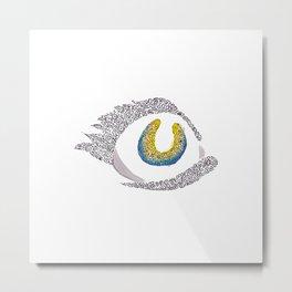 looking eye doodle watercolor abstract Metal Print