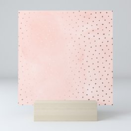Rose Gold Pastel Pink Foil Paint Line Dots XXIII Mini Art Print
