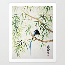 Blue Bird on The Branch Art Print