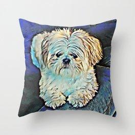 Shih tzu dog art Throw Pillow