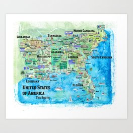 USA Southern States Travel Poster Map Florida Louisiana Mississippi Arkansas Carolinas Georgia Art Print
