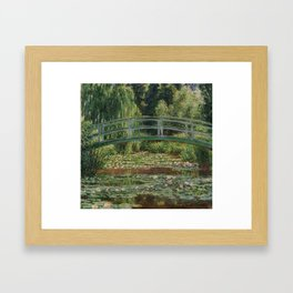The Japanese Footbridge and the Water Lily Pool Framed Art Print
