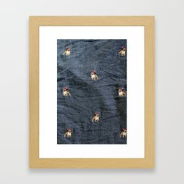 Pug Christmas Fabric Print Framed Art Print