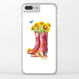 Western Sunflower Clear iPhone Case