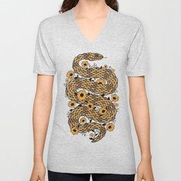 Floral snake Unisex V-Neck