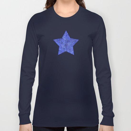 Royal blue swirls doodles Long Sleeve T-shirt
