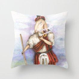 Scottish Smoking Sheep  Throw Pillow