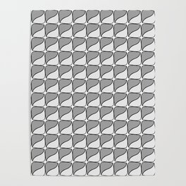 Abstract grey and white square lozenge Poster