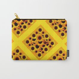 GOLDEN YELLOW SUNFLOWERS GRID PATTERN  DESIGN Carry-All Pouch