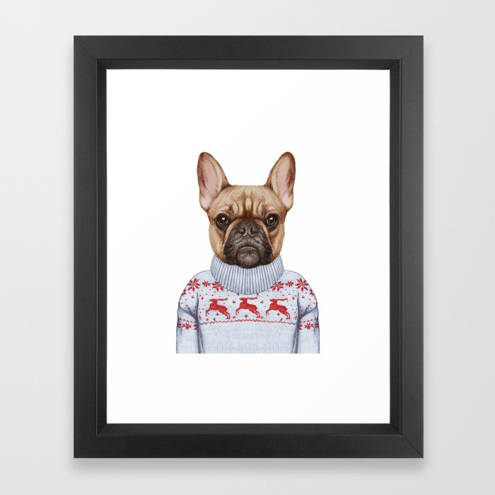 Animals as a human. French Bulldog in down vest and sweater. Framed Art Print