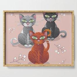 Three nice tiger cats Serving Tray