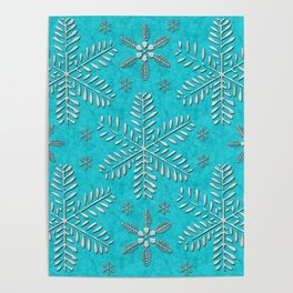 DP044-11 Silver snowflakes on turquoise Poster