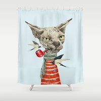 sphynx Shower Curtains featuring Sphynx cat by dogooder