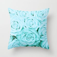 Turquoise roses - flower pattern - Vintage rose Throw Pillow