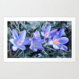Early purple crocuses spring flowers abstract Art Print