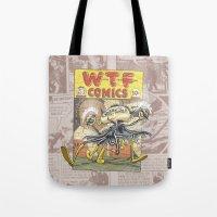 comic book Tote Bags featuring A Comic Book Villian  by Berni Store