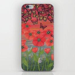 red sky, butterflies, poppies, & snails iPhone Skin