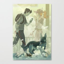 Dog Walker Canvas Print
