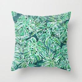 JUNGLE VIBES Green Monstera Watercolor Print Throw Pillow