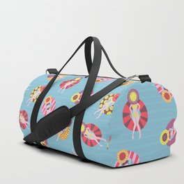 Floating in the Pool Pattern. Women on colorful floaties. Duffle Bag