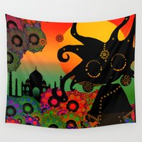 india Wall Tapestries featuring India by BLOOP