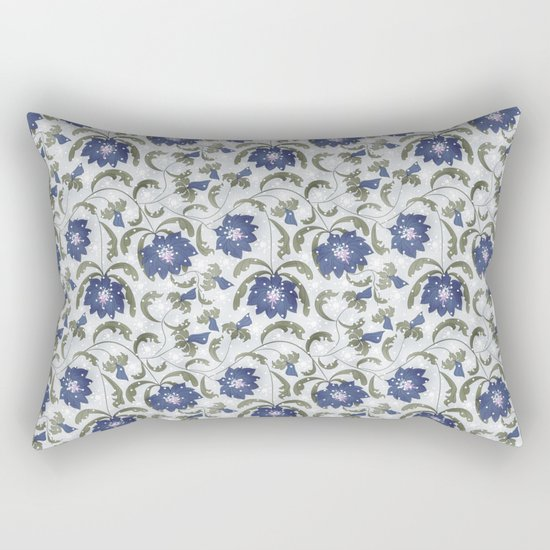 Retro . Floral pattern in blue tones . Rectangular Pillow