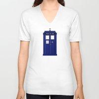 tardis V-neck T-shirts featuring TARDIS by fairandbright